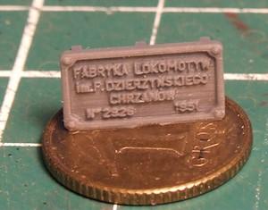 Tabliczka fabryczna, wydruk 3D
